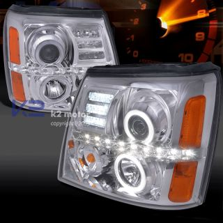 2002 2006 Cadillac Escalade Chrome Projector LED Halo Headlights
