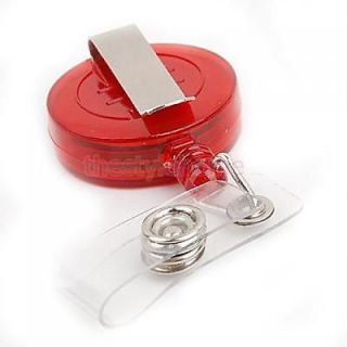 Red Retractable ID Card Badge Holder Cable Reel Office Supplies Quality New