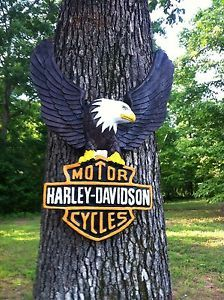 Concrete Harley Davidson Eagle Motorcycle Hanging Plaque Cement Outdoor Decor