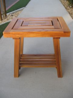 RARE Teak Wood Seat Shower Bath Spa Stool Bench Outdoor Garden Patio Indonesia