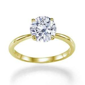 3 31 Carat Fancy Light Yellow SI3 4 Prong Round Diamond Engagement 14k Gold Ring