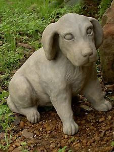 Dog Puppy Lab Labrador Statue Home Garden Pet Outdoor Decor Cast Cement