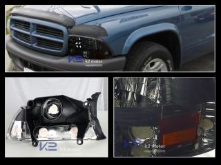97 04 Dodge Dakota Durango Smoke Headlights w Bumper Signal