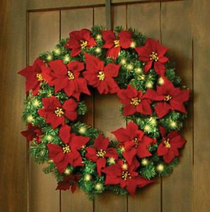 "Sale 28""Outdoor Prelit Lighted Cordless Poinsetta Christmas Wreath Holiday Decor"