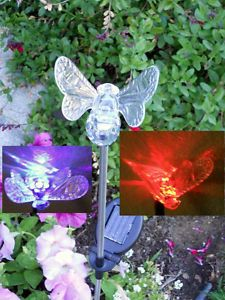 Solar Powered Bumble Bee Garden Decor Stake Color Changing Yard LED Light