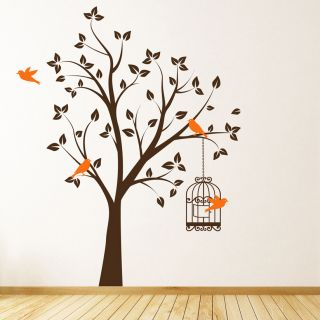 Large Tree with Bird Cage Wall Sticker Decal Children's Bed Room Living Room