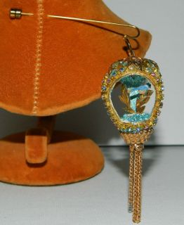 Vtg Real Egg Shell Turquoise Rhinestone Stick Hat Pin Bird Cage Diorama Large