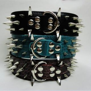 "2"" Dog Leather Spiked Collar for Pitbull Bully Boxer Collar Size XS s M L New"
