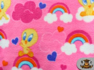 "Fleece Printed Tweety Bird Pink Clouds Fabric 58"" Sold by The Yard SL 321"