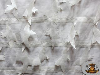 "Taffeta Birds Fabric White 58"" Wide Sold by The Yard"