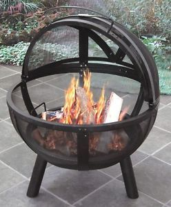 New Heavy Duty Outdoor Wood Fire Pit Grill Steel Metal Stove Camping BBQ Patio