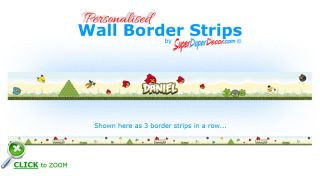 Angry Birds Bedroom Wall Border Strips Personalised with Any Boys or Girls Name