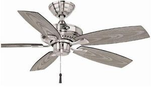 Hampton Bay Gazebo 42 inch Indoor Outdoor Ceiling Fan Brushed Nickel