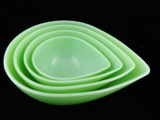 4 Fire King Jadeite Swedish Modern Tear Drop Mixing Bowls Fireking Jadite
