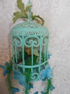 Vintage Hanging Bird Cage with Flowers Plastic Decoration Retro