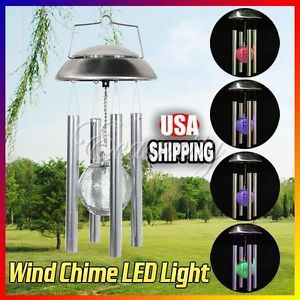 Outdoor Garden Solar Wind Chime Color Changing Rotating LED Light w Glass Ball