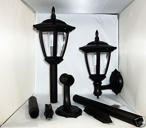 2pack Black Solar Power Outdoor 5 LED Lantern Wall Ground Mount Pathway Light