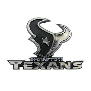 Houston Texans Logo NFL Plastic 3D Silver Chrome Auto Car Truck Emblem New