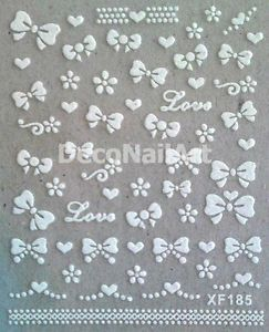 3D Glitter White Ribbon Bow Knot Love Hearts Nail Art DIY Decals Seals Stickers