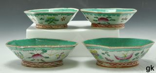 Great Lot 4 Antique Chinese Porcelain Bowls Colorful Flowers Butterflies 1800s