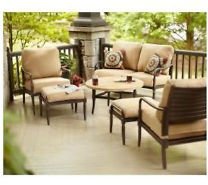 Hampton Bay Madison 4 Piece Patio Deep Seating Set with Golden Wheat Cushions