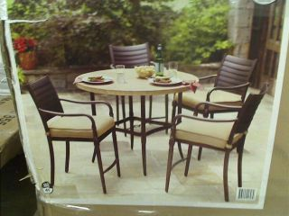Hampton Bay Madison Patio High Dining Set with Golden Wheat Cushions