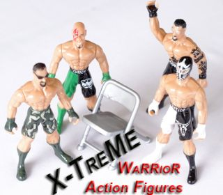 4 Xtreme Warrior Wrestling Figures with Brawl Accessories 134005