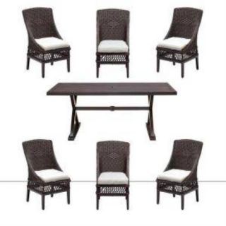 New Hampton Bay Woodbury 7 Piece Patio Dining Set with Bare Cushions