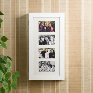 White Family Photo Picture Frame Wall Mount Display Storage Jewelry Box Armoire