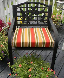 Redwood Red Green Tan Stripe Patio Chair Cushion Pad Choose Size In Outdoor