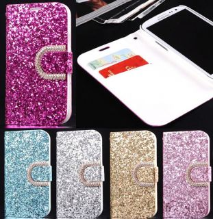 New Crystal Diamond Rhinestone Glitter Bling Flip Wallet PU Leather Case Cover