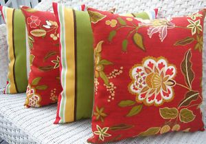 Set of 4 Salsa Red Green Floral Stripe Indoor Outdoor Throw Pillows