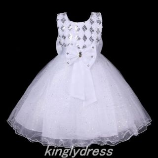 New Flower Girl Pageant Wedding Bridesmaid Party Dancing Dress White SZ 6 7 V407