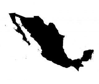 Mexico Map Silhouette Vinyl Wall Art Sticker Mexican Country in Green or Red Etc