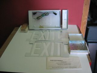 Exit Sign White One Sided Safety Security Emergency Lights Industrial
