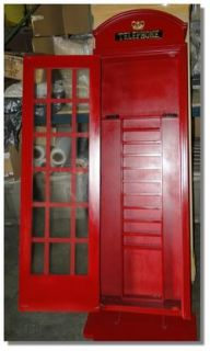 Wall Mounted Red British Telephone Booth Billiard Pool Table Decor Cabinet