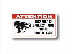 Safety Industrial Security Decal 24 Hour Video Surveillance Large Sticker