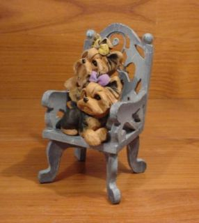Original Yorkie Yorkshire Terrier Chair Dog Sculpture Claydogz Mandyo OOAK