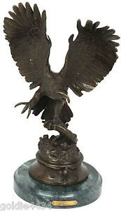 1983 Signed Max Turner Bronze Majestic American Bald Eagle Sculpture Moignez