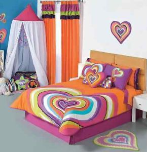Girls Orange Hearts Comforter Sheets Bedding Set Twin 7