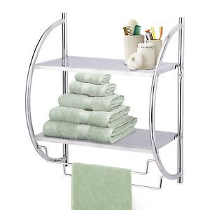 Chrome Wall Mounted Bathroom Shower Towel Shelf Rail Storage Caddy Door Airer
