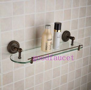 Antique Bronze Wall Mount Bathroom Shower Caddy Cosmetic Glass Shelf Single Tier
