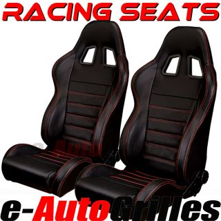 Universal Sport JDM Racing Seat Seats Matte Black PVC Leather Red Stitch A Pair