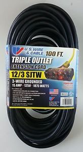 100' 12 Gauge Heavy Duty Extension Cord w Lighted Triple Outlet