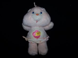 "Care Bears 11"" Vintage Baby Hugs Bear 1983 Kenner Plush Toy with Diaper"