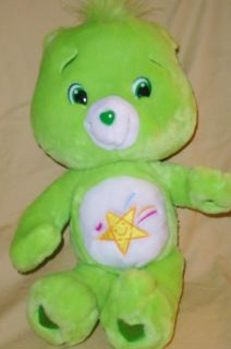 RARE Care Bears Oopsy Bear Bright Green Plush Shooting Star Symbol