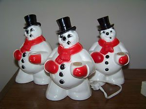 Set 3 Vintage Christmas Snowman Lights String Working Whtie Red Scarf Black Hat