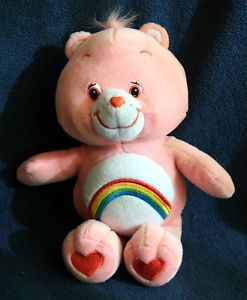 TCFC Care Bears Cheer Bear Pink Rainbow 2002 Collectible Plush Stuffed Animal