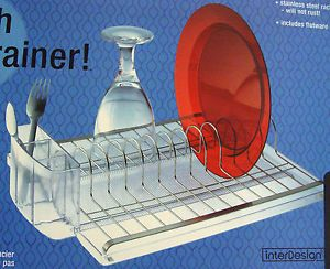 New InterDesign Forma Dish Drainer Stainless Steel Drying Rack Dishes Flatware