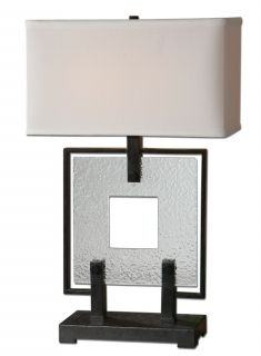 Modern Square Seeded Glass Black Metal Table Lamp Contemporary